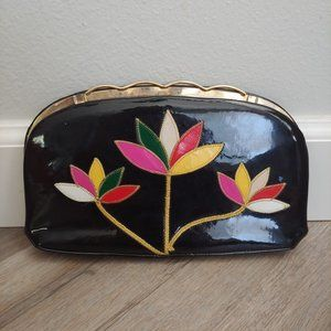 Vintage Patent Leather Stitched Floral C